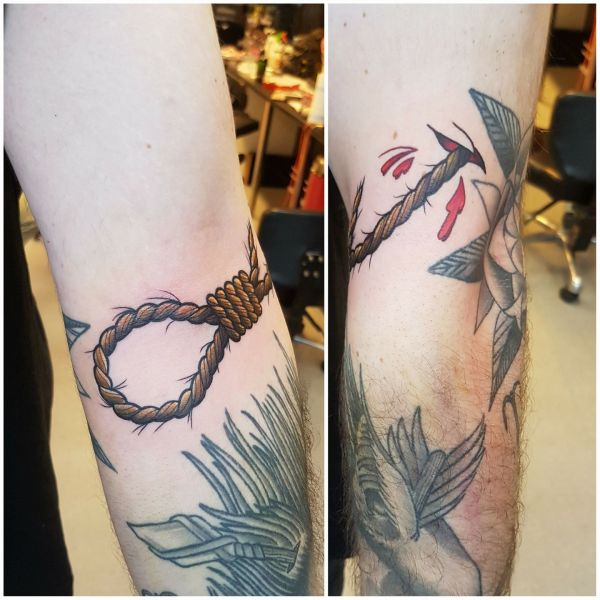 this is the noose I got done on adam today:D it was bare fun and he took it like a pussy. there was tears: Swipe To View More Images