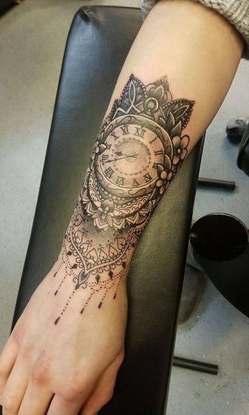 I got this done last week; little wrist cuff pocket watch on Dani. She took it like a hardcore bastard:)) cheers for checking it- robb.: Swipe To View More Images