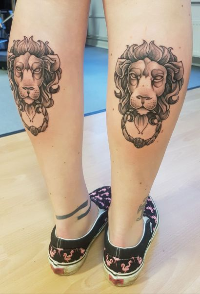 I got to do these matching lion door knockers on Emma this week, she took them boss as usual. it was well fun to get back on it:D -Robb: Swipe To View More Images